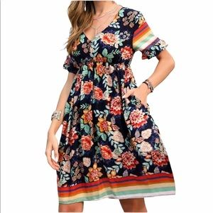 Colorful Floral Dress with Stripes
